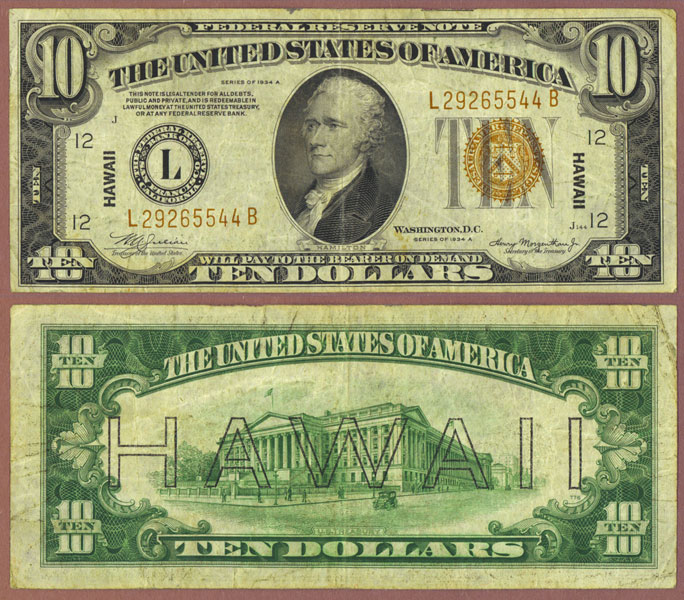 "1934-A $10.00 FR-2303 ""Hawaii"" US emergency issue"