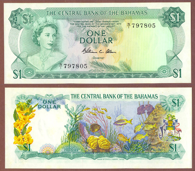 1974 $1.00 Bahamas currency