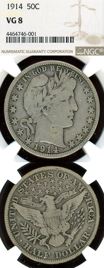 1914 50c US Barber silver half dollar NGC VG 8