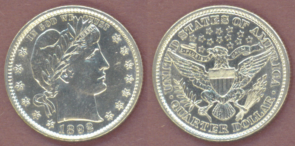 1892 25c US Barber Quarter First Year Type Coin