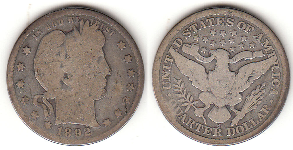 1892-S 25c US Barber silver quarter