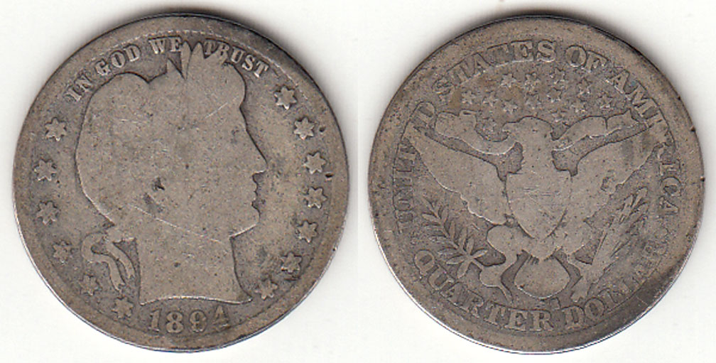 1894-S 25c US Barber silver quarter