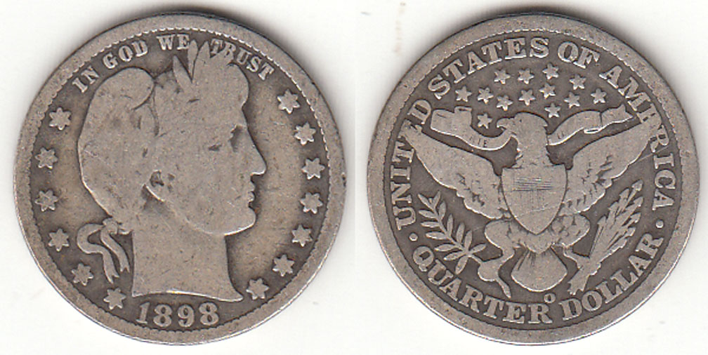 1898-O 25c US Barber silver quarter