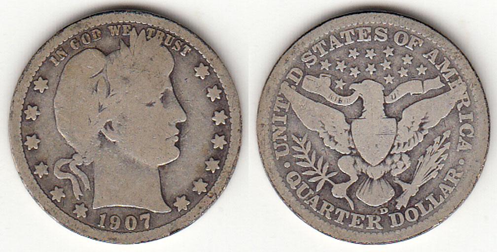 1907-D 25c US Barber silver Quarter
