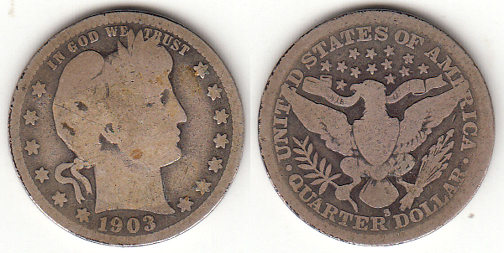 1903-S 25c US Barber silver quarter