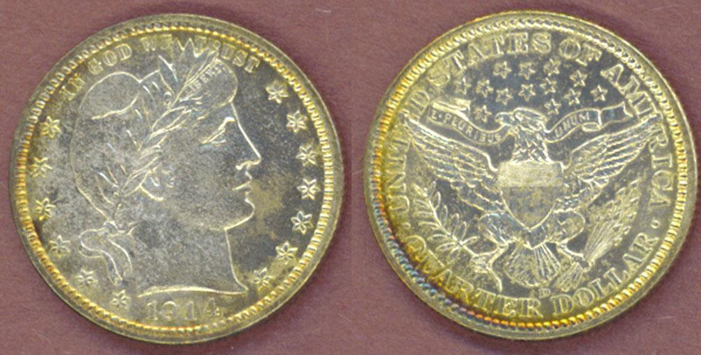 1914-D 25c US Barber silver quarter