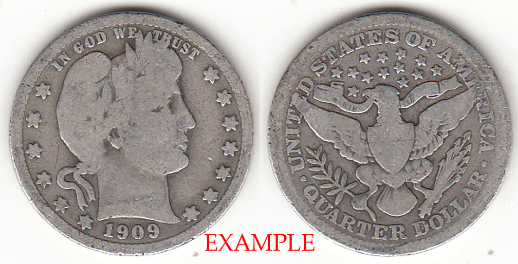 1909 25c US Barber silver quarter
