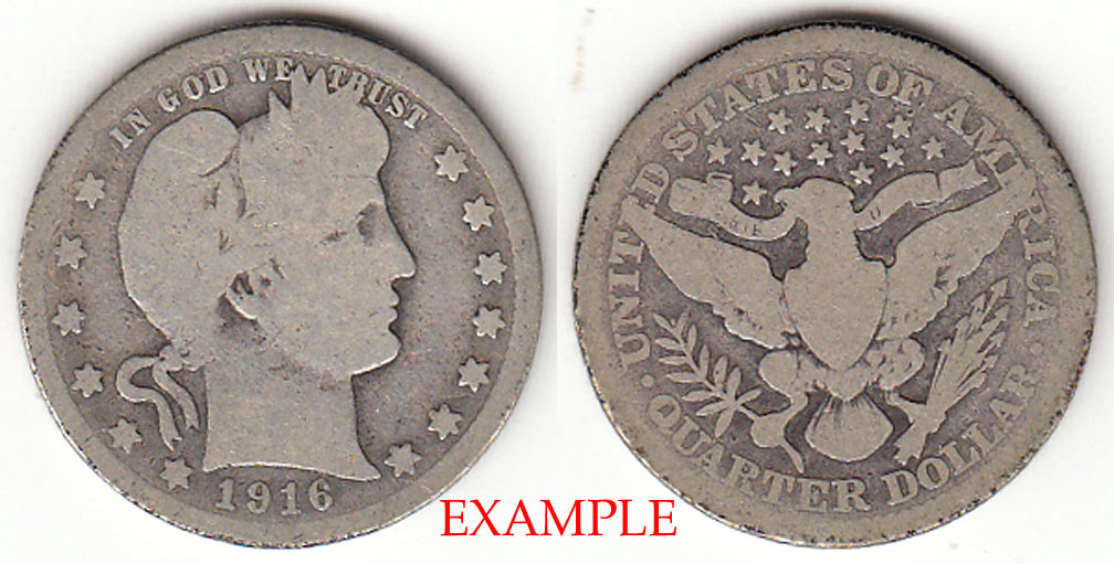 1916 25c US Barber silver quarter