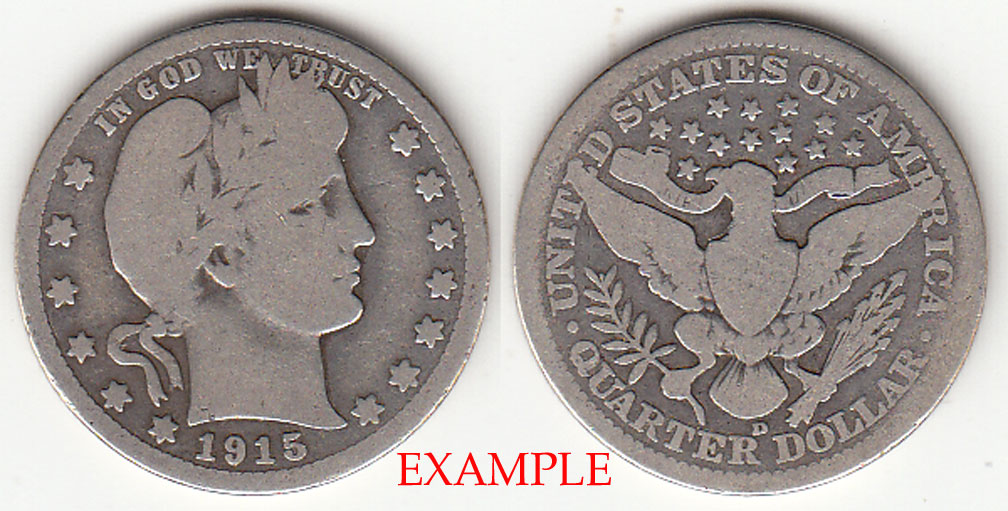 1915-D 25c US Barber silver quarter