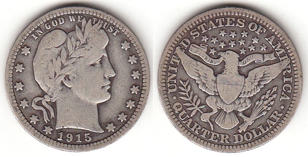 1915 25c US Barber silver quarter