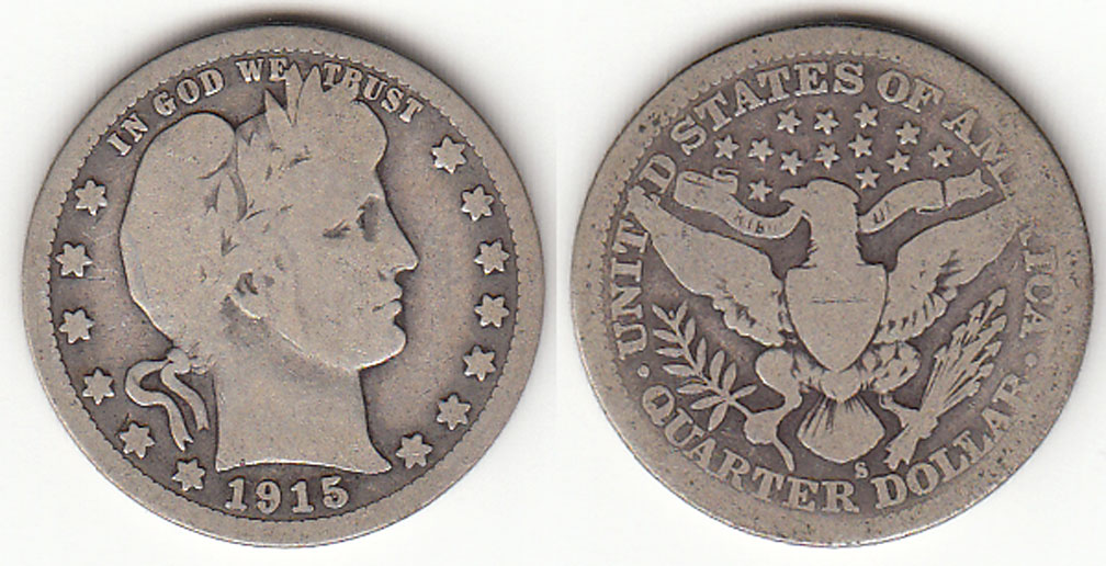 1915-S 25c US Barber silver quarter