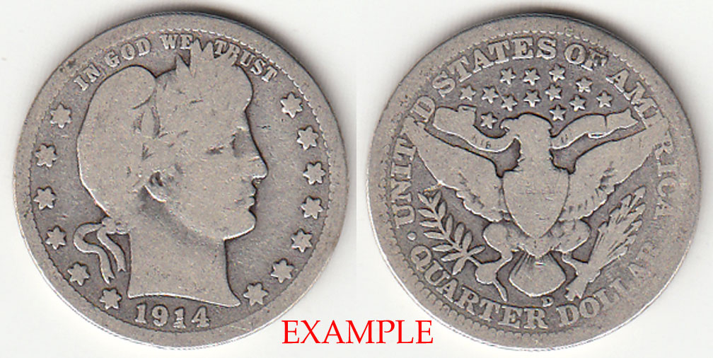 1914-D 25c US Barber silver quarter