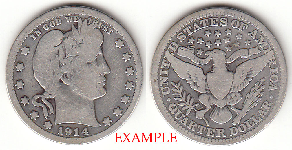 1914 25c US Barber silver quarter