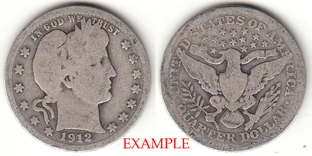 1912 25c US Barber silver quarter