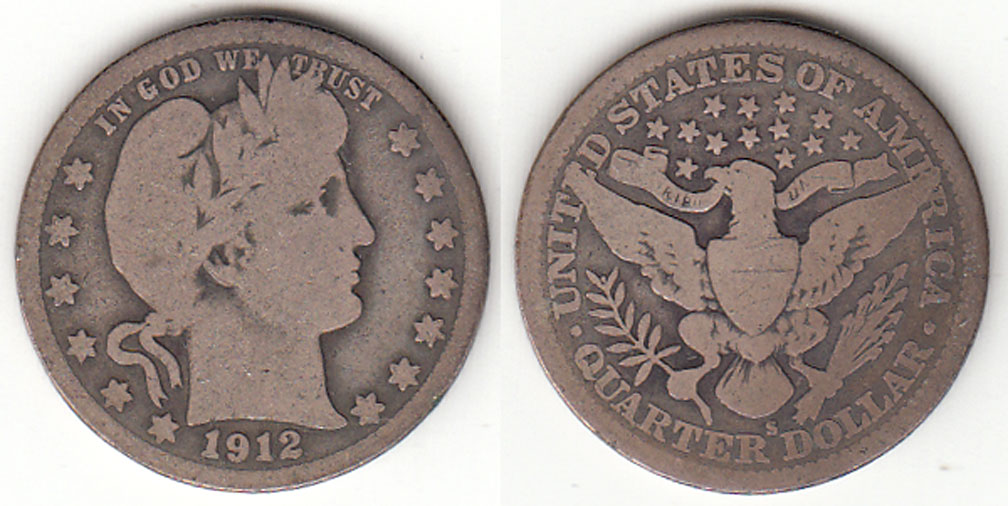 1912-S 25c US Barber silver quarter