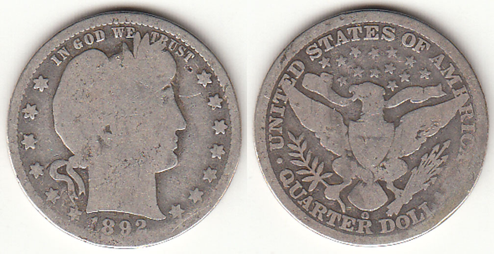 1892-O 25c US Barber silver quarter
