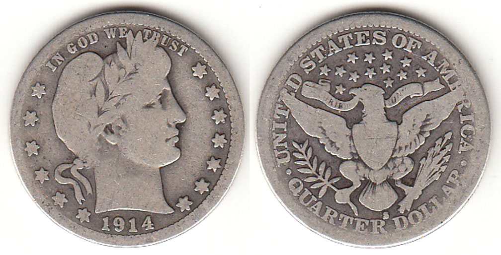 1914-S 25c US Barber silver quaretr