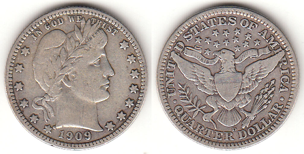 1909-D 25c US Barber silver quarter
