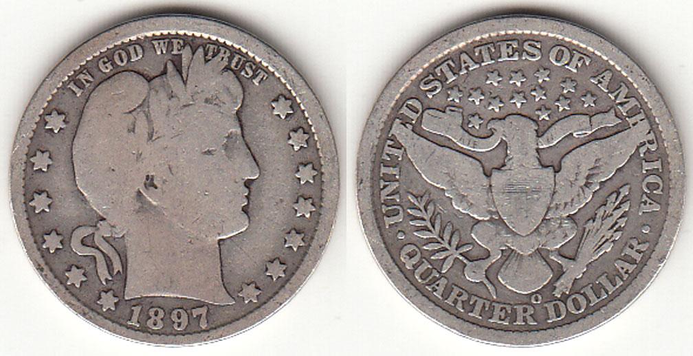 1897-O 25c US Barber silver quarter