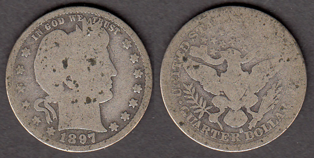1897-S 25c US Barber silver quarter