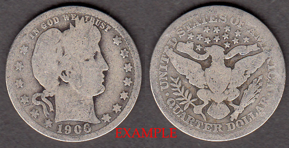 1906 25c US Barber silver quarter
