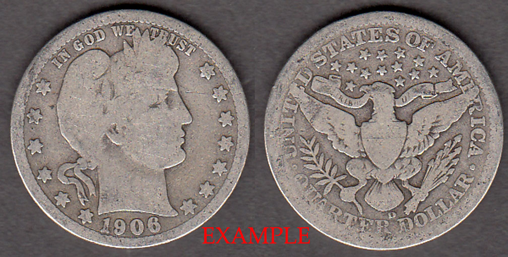 1906-D 25c US Barber silver quarter