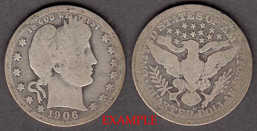 1906-O 25c US Barber silver quarter