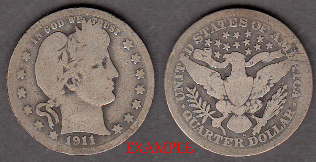1911-S 25c US Barber silver quarter