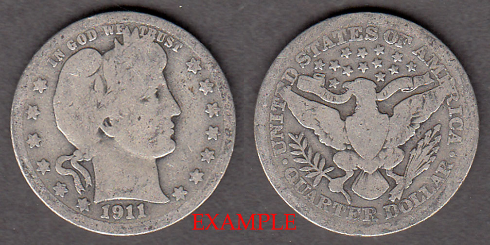 1911 25c US Barber silver quarter