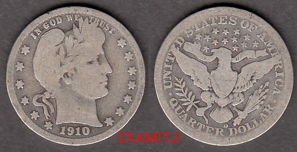 1910-D 25c US Barber silver quarter