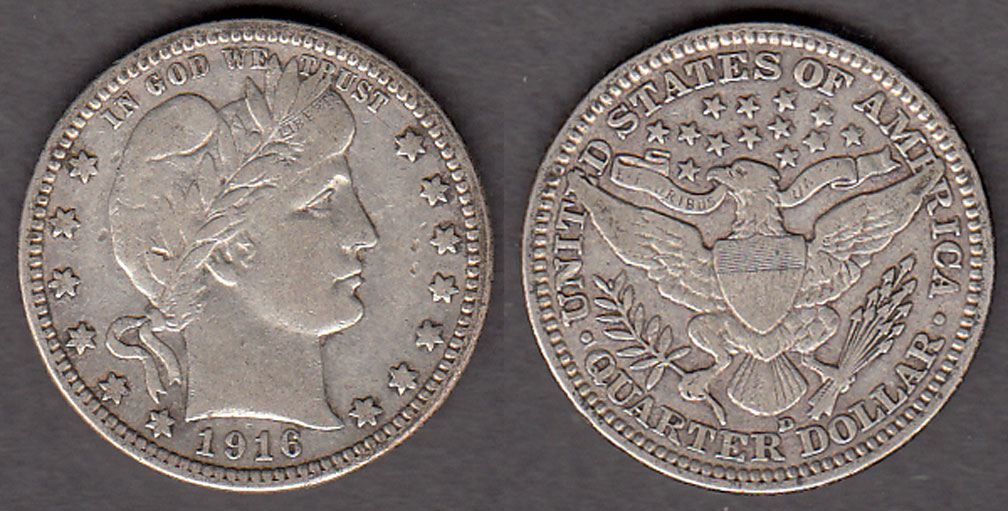 1916-D 25c US Barber silver quarter