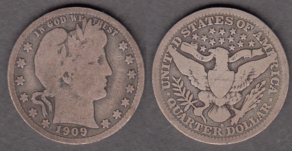 1909-S 25c US Barber silver quarter