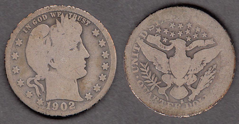 1902-S 25c US Barber silver Quarter