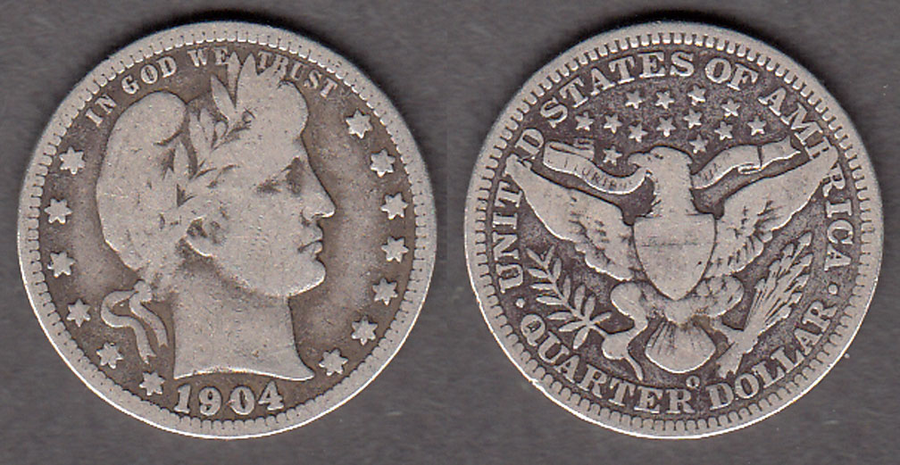 1904-O 25c US Barber silver quarter