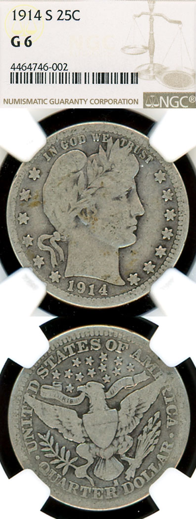 1914-S 25c US Barber silver quarter