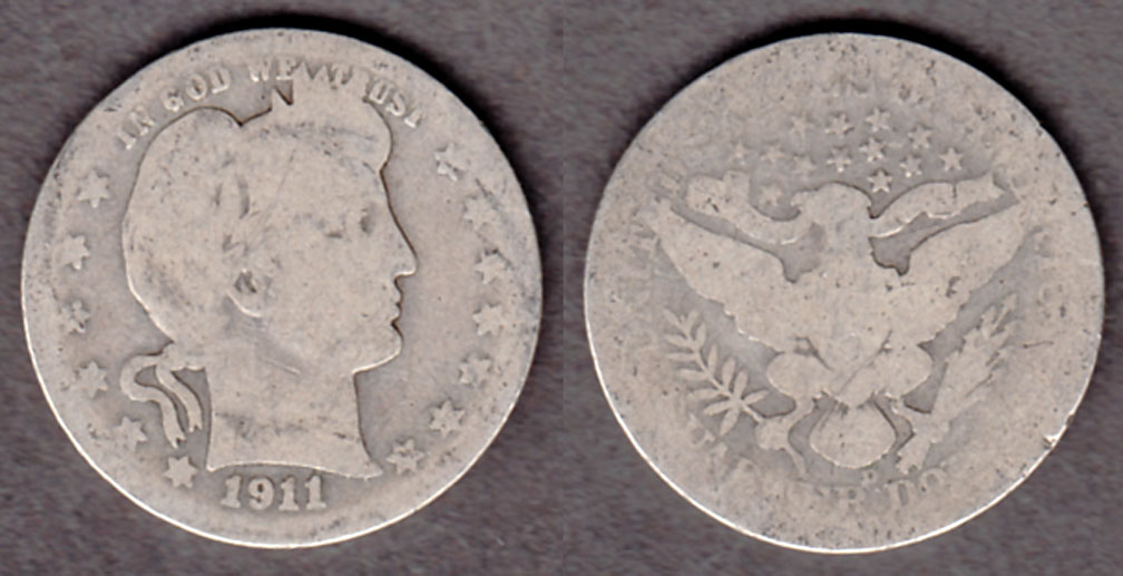 1911-D 25c US barber silver quarter