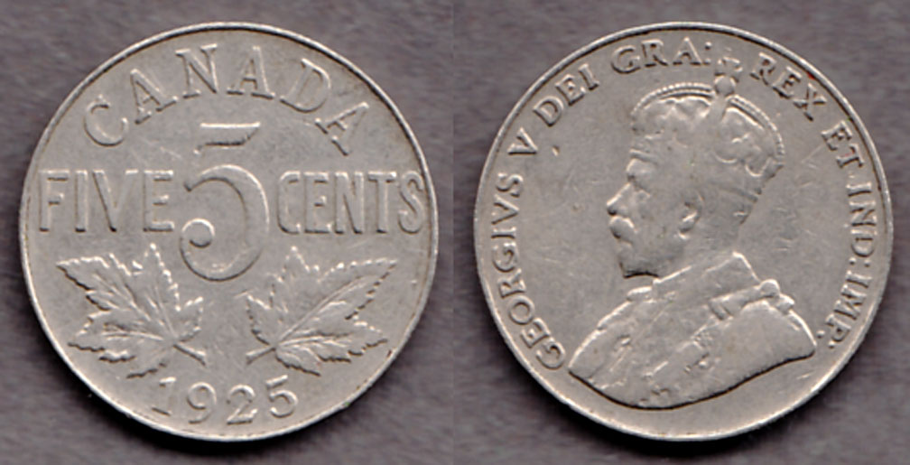 1925 Five Cents Collectable Canandian coins
