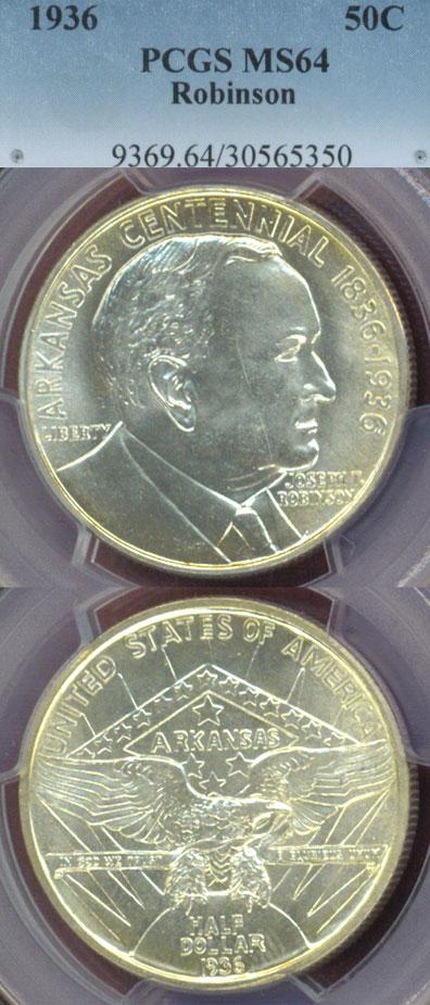 1936 Robinson-Arkansas US Silver Commemorative Half Dollar PCGS MS64