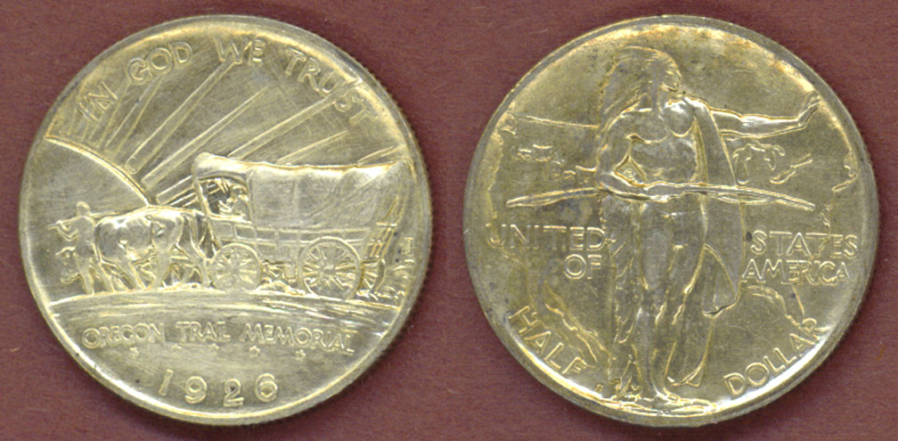1926-S Oregon Trail Half Dollar, US silver commemorative half dollar