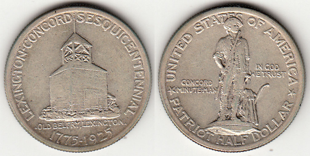 1925 Lexington-Concord US silver commemerative half dollar