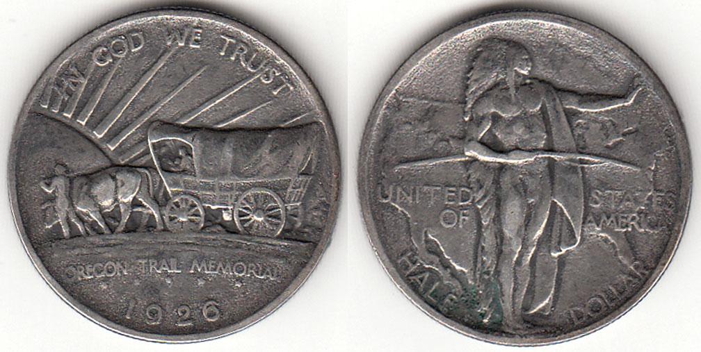 1926-S Oregon Trail US silver commemorative half dollar
