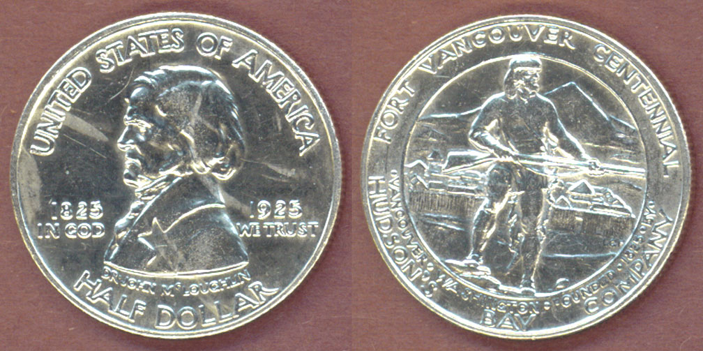 1925 Fort Vancouver Centenial US silver commemorative half dollar