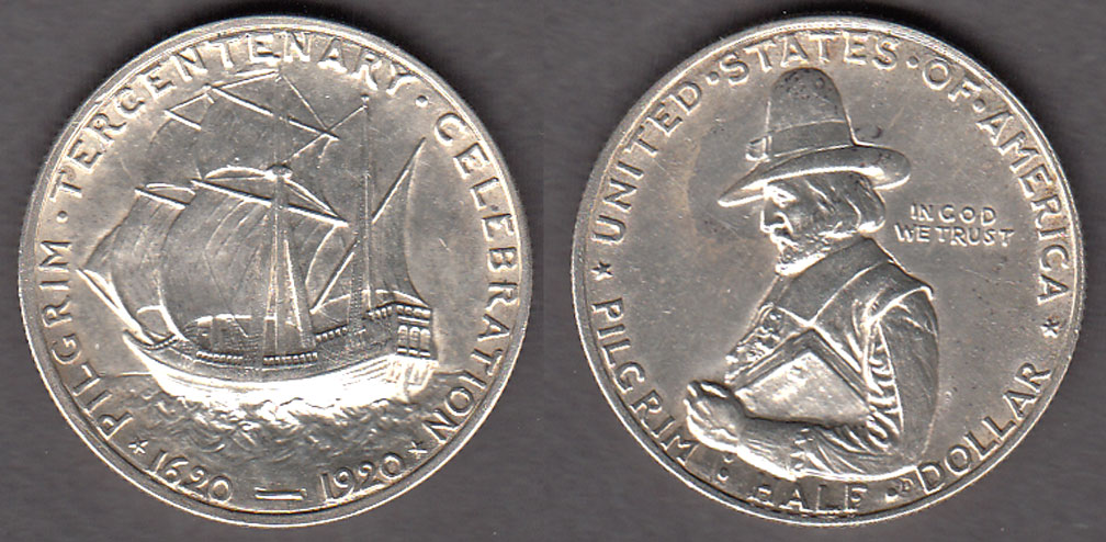 1920 Pilgrim US commererative silver half dollar
