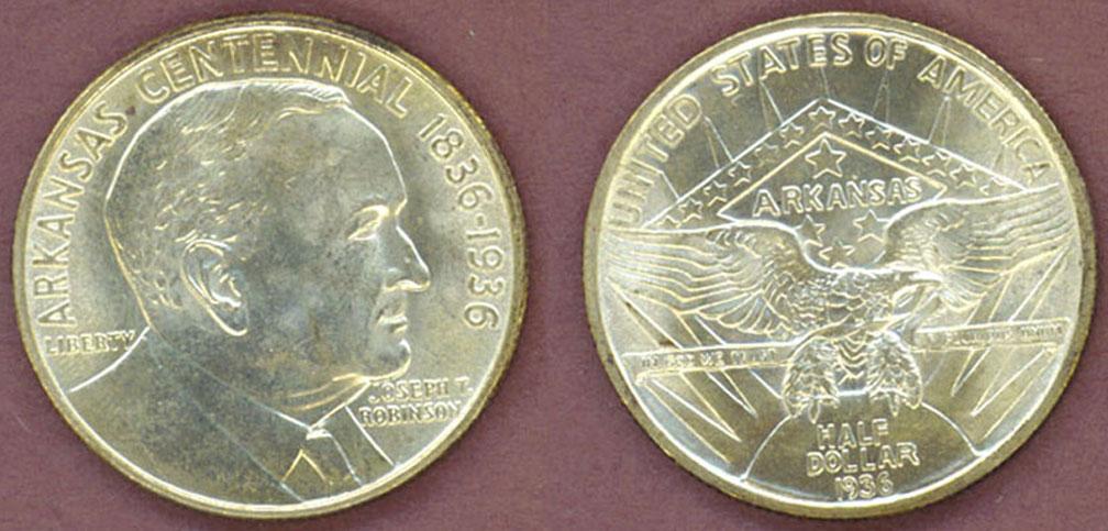 1936 Robinson-Arkansas US Silver Commemorative Half Dollar