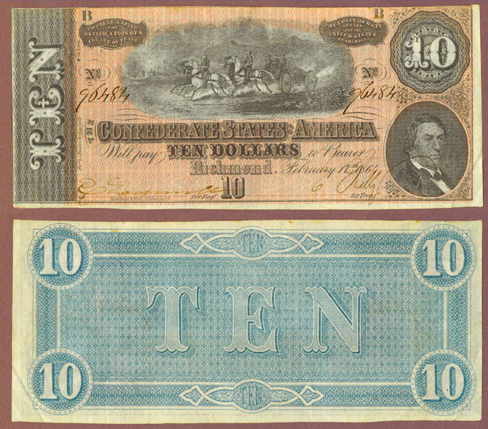 T-68 $10 1864 Confederate Currency