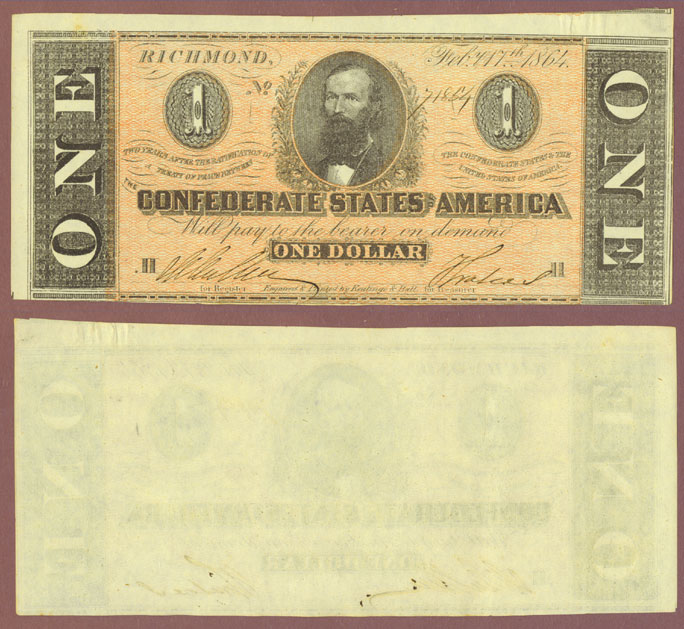 T-71 $1 1864 Confederate currency