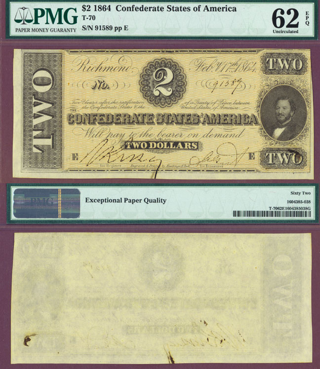 T-70 $2 1864 Confederate Currency civil war