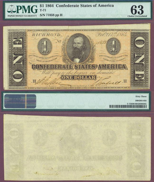 T-71 $1 1864 Confederate currency civil war