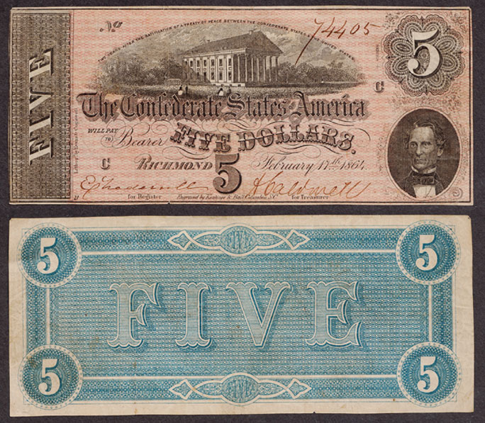 T-69 $5 1864 Collectable Confederate states currency paper money