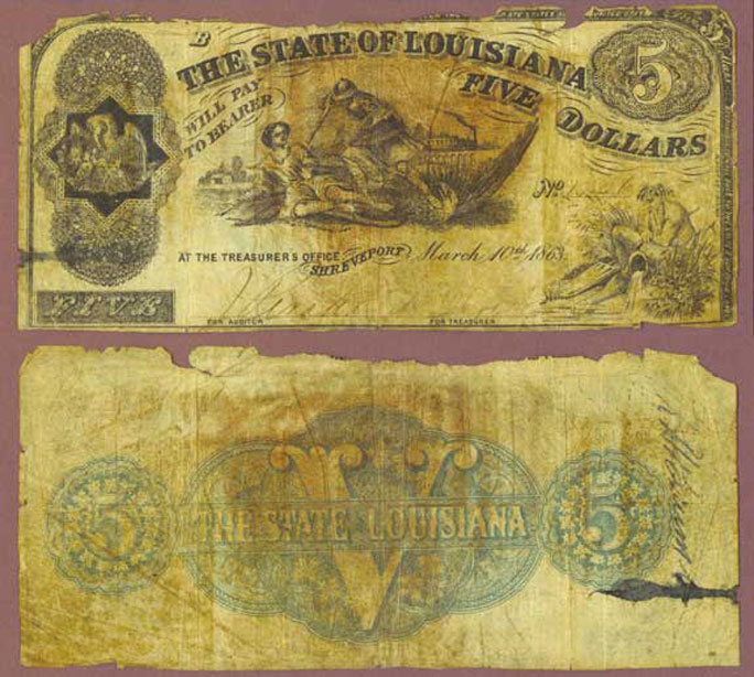 Louisiana 1863 - $5.00 obsolete civil war currency